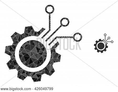 Triangle Electronic Gear Polygonal Symbol Illustration. Electronic Gear Lowpoly Icon Is Filled With