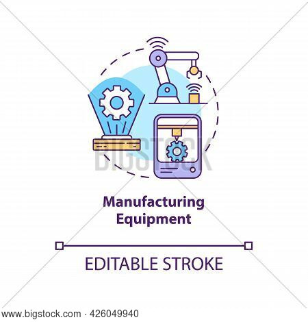 Manufacturing Equipment Concept Icon. Digital Twin Application By Industry. Smart Equipment Abstract