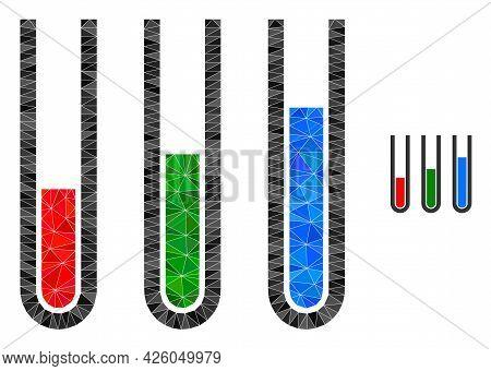 Triangle Analysis Test Tubes Polygonal Symbol Illustration. Analysis Test Tubes Lowpoly Icon Is Fill