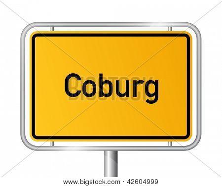 City limit sign Coburg against white background - signage - Bavaria, Bayern, Germany