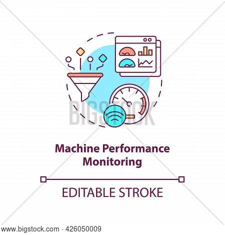 Machine Performance Monitoring Concept Icon. Digital Twin Tasks. Smart Computers Automation Abstract