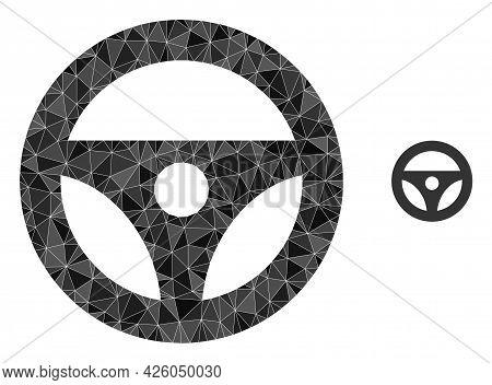 Triangle Car Steering Wheel Polygonal Symbol Illustration. Car Steering Wheel Lowpoly Icon Is Filled