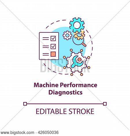 Machine Performance Diagnostics Concept Icon. Digital Twin Tasks. Smart Computers Automation Abstrac