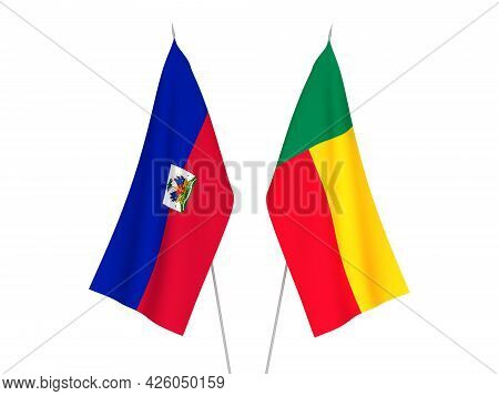 National Fabric Flags Of Benin And Republic Of Haiti Isolated On White Background. 3d Rendering Illu