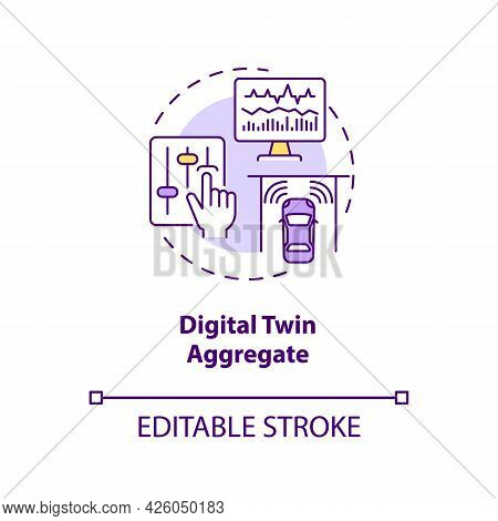 Digital Twin Aggregate Concept Icon. Smart Technology Types. Innovative Devices. Computer Automation