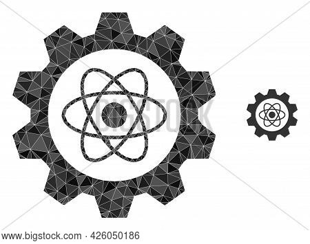 Triangle Atomic Industry Polygonal Icon Illustration. Atomic Industry Lowpoly Icon Is Filled With Tr