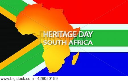 Africa Flag With African Continent For South Africa Heritage Day, Vector Art Illustration.