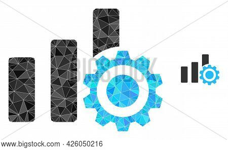 Triangle Bar Chart Settings Polygonal Icon Illustration. Bar Chart Settings Lowpoly Icon Is Filled W