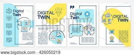 Digital Twin Brochure Template. Futuristic Computers. Flyer, Booklet, Leaflet Print, Cover Design Wi