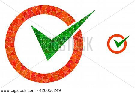 Triangle Checkbox Circle Polygonal Icon Illustration. Checkbox Circle Lowpoly Icon Is Filled With Tr
