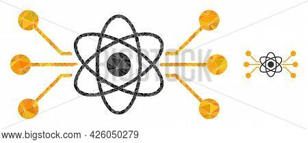 Triangle Atomic Circuit Polygonal Symbol Illustration. Atomic Circuit Lowpoly Icon Is Filled With Tr