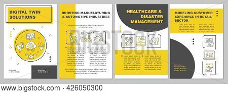 Digital Twin Solutions Brochure Template. Automative Manufacture. Flyer, Booklet, Leaflet Print, Cov