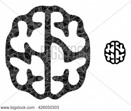 Triangle Brain Polygonal Symbol Illustration. Brain Lowpoly Icon Is Filled With Triangles. Flat Fill
