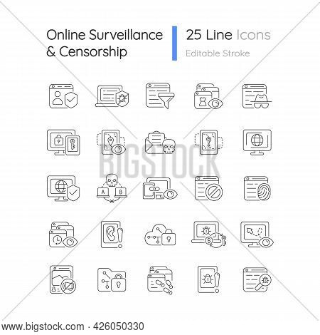 Online Surveillance And Censorship Linear Icons Set. Securing Accounts. Targeting Advertisement. Cus