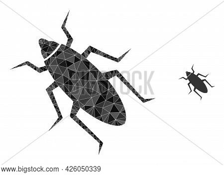Triangle Bug Polygonal Symbol Illustration. Bug Lowpoly Icon Is Filled With Triangles. Flat Filled G