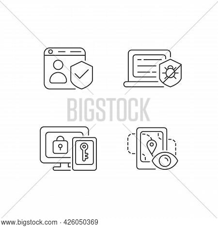 Protecting Right To Online Privacy Linear Icons Set. Securing Accounts. Antivirus Software. Customiz
