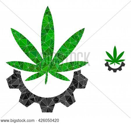 Triangle Cannabis Industry Polygonal Symbol Illustration. Cannabis Industry Lowpoly Icon Is Filled W