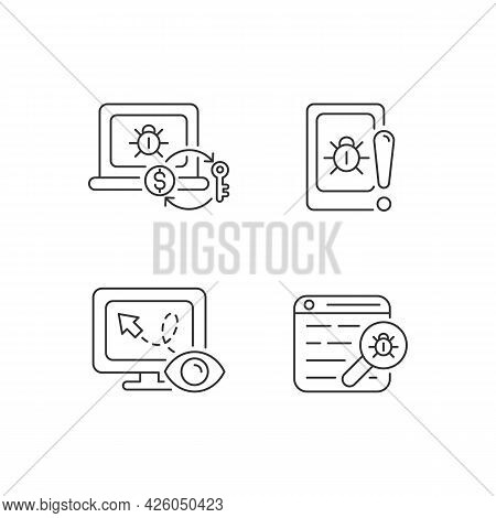 Internet Censorship Linear Icons Set. Ransomware. Cell Phone Bugging. Web Bug. Location Tracking. Cu