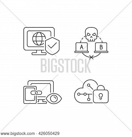 Internet Privacy Linear Icons Set. Network Security. Sniffing Attack. Cross-device Tracking. Customi