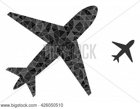 Triangle Airplane Polygonal Symbol Illustration. Airplane Lowpoly Icon Is Filled With Triangles. Fla