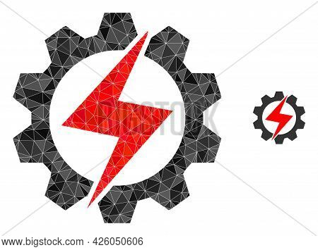 Triangle Energy Industry Polygonal Icon Illustration. Energy Industry Lowpoly Icon Is Filled With Tr