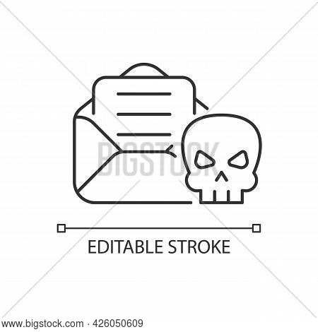 Email Phishing Linear Icon. Online Scam. Cyber Attack By Sending Deceptive Messages. Thin Line Custo