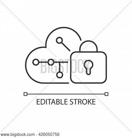 Cloud Encryption Linear Icon. Transforming User Data Using Encryption Algorithms. Cloud Storage. Thi