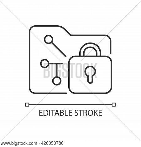 Data Encryption Linear Icon. Transforming Data Into Encoded Information. Security Method. Thin Line