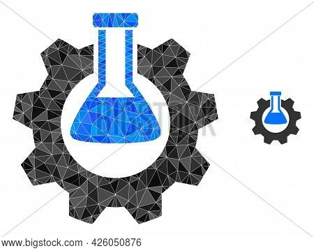 Triangle Chemical Industry Polygonal Icon Illustration. Chemical Industry Lowpoly Icon Is Filled Wit