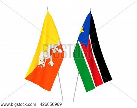 National Fabric Flags Of Republic Of South Sudan And Kingdom Of Bhutan Isolated On White Background.