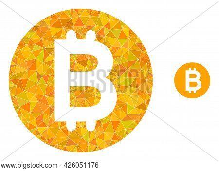 Triangle Bitcoin Gold Coin Polygonal Icon Illustration. Bitcoin Gold Coin Lowpoly Icon Is Filled Wit