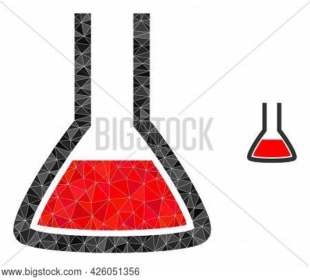 Triangle Chemical Flask Polygonal Icon Illustration. Chemical Flask Lowpoly Icon Is Filled With Tria