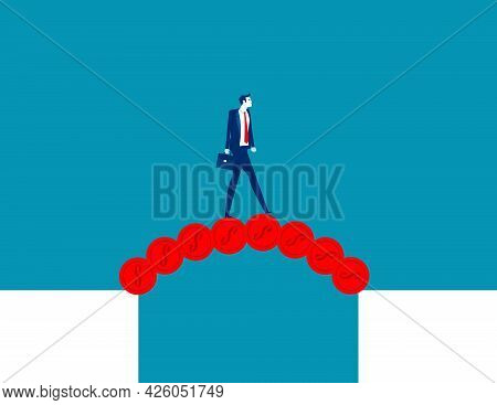 Businessman Cross The Abyss With A Bridge Of Money