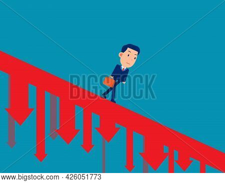 Business Person Walking Down The Falling Arrow And Recession