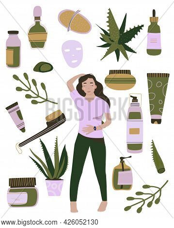 Homemade Cosmetic From Aloe Vera.make Up,organic Face Mask.natural Skin Care.young Woman Loves Herse