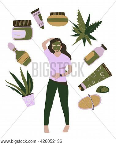 Homemade Cosmetic From Aloe Vera.make Up.young Woman With Organic Face Mask.natural Skin Care.everyd