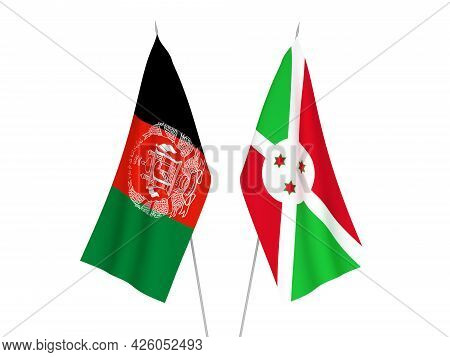 National Fabric Flags Of Burundi And Islamic Republic Of Afghanistan Isolated On White Background. 3
