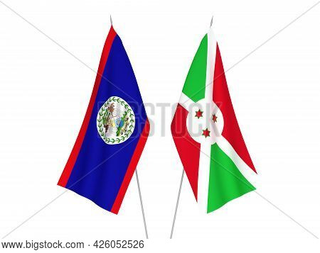 National Fabric Flags Of Burundi And Belize Isolated On White Background. 3d Rendering Illustration.