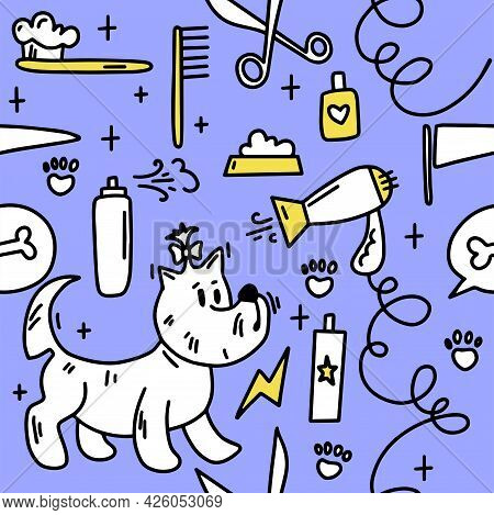 Dog Grooming Pattern. Dog Grooming. Groomer. Grooming Tools. Doodle Pattern. For Backgrounds, Packag