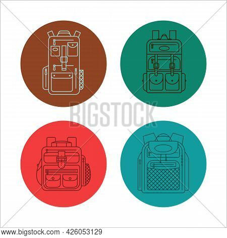 Education And Study Backpack For Students And Traveling Icon. Rucksack Or Schoolbag With Pockets And