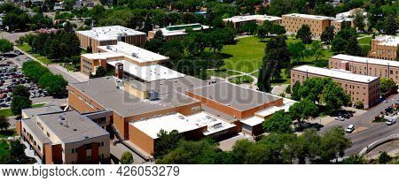 University building on campus or Community College Aerial View