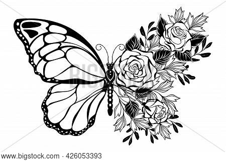 Composition Of Contour Butterfly And Bouquet Of Silhouette Roses And Ornamental Plants On White Back