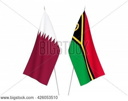 National Fabric Flags Of Qatar And Republic Of Vanuatu Isolated On White Background. 3d Rendering Il