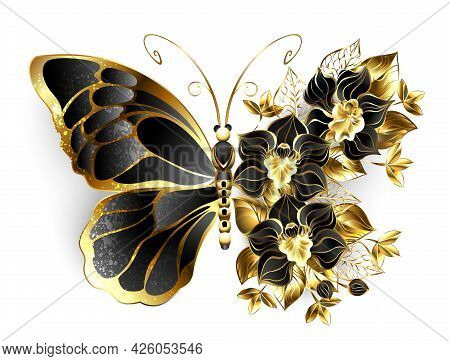 Gold Flower Butterfly With Black Jewelry Orchid, Decorated With Gold Leaves On White Background.