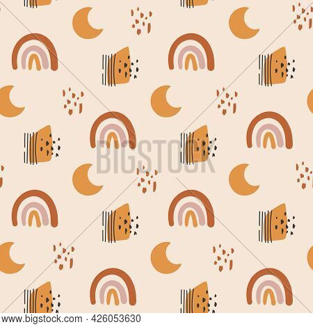 Boho Abstract Rainbow And Moon Seamless Pattern Or Digital Paper, Geometric Kids Background In Bohem