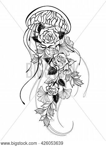 Contour, Artistically Drawn Jellyfish With Roses And Decorative Plants On White Background.