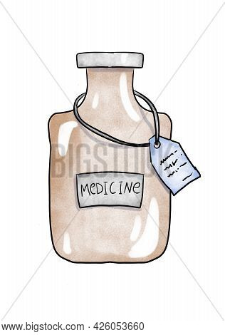 Cartoon Jar Of Medicine. Pharmaceutical Products. Medicament In A Bottle. Watercolor Illustration On