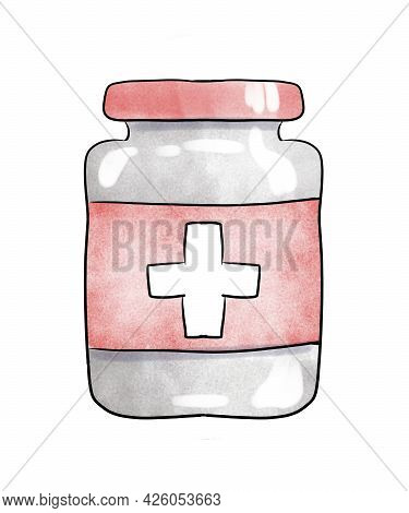 Cartoon Jar Of Medicine. Pharmaceutical Products. Medicament In A Mottle. Watercolor Illustration On