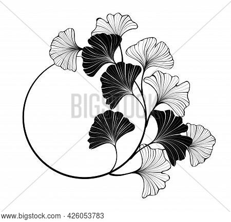 Contour, Round Banner With Silhouette And Outline Leaves Of Ginkgo Biloba On White Background.