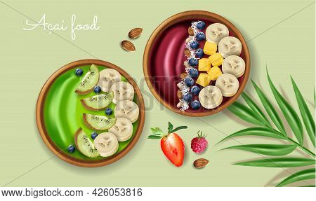 Acai And Kiwi Smoothie Bowl Vector Realistic Mock Up. Banana And Fruits On Top. Green Healthy Organi